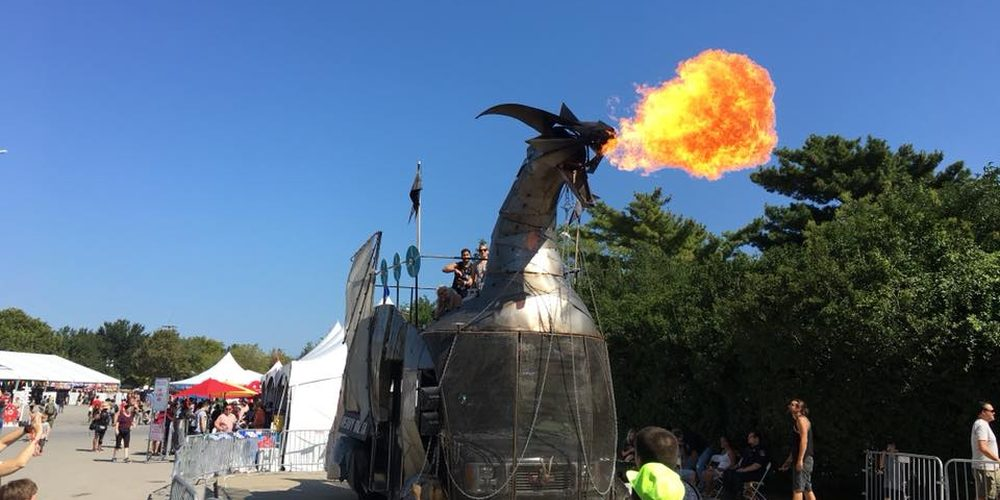 'Heavy Meta', a giant metalwork fire-breathing dragon, was a hard to miss feature at Maker Faire. Photo: Paul Calvano