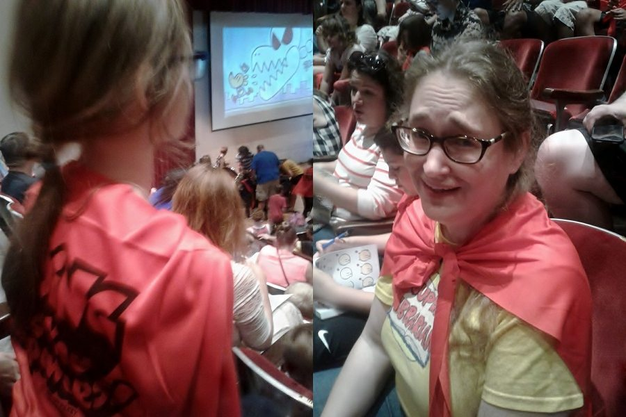 """Two pics side by side of people wearing """"Reading Gives You Superpowers!"""" capes"""
