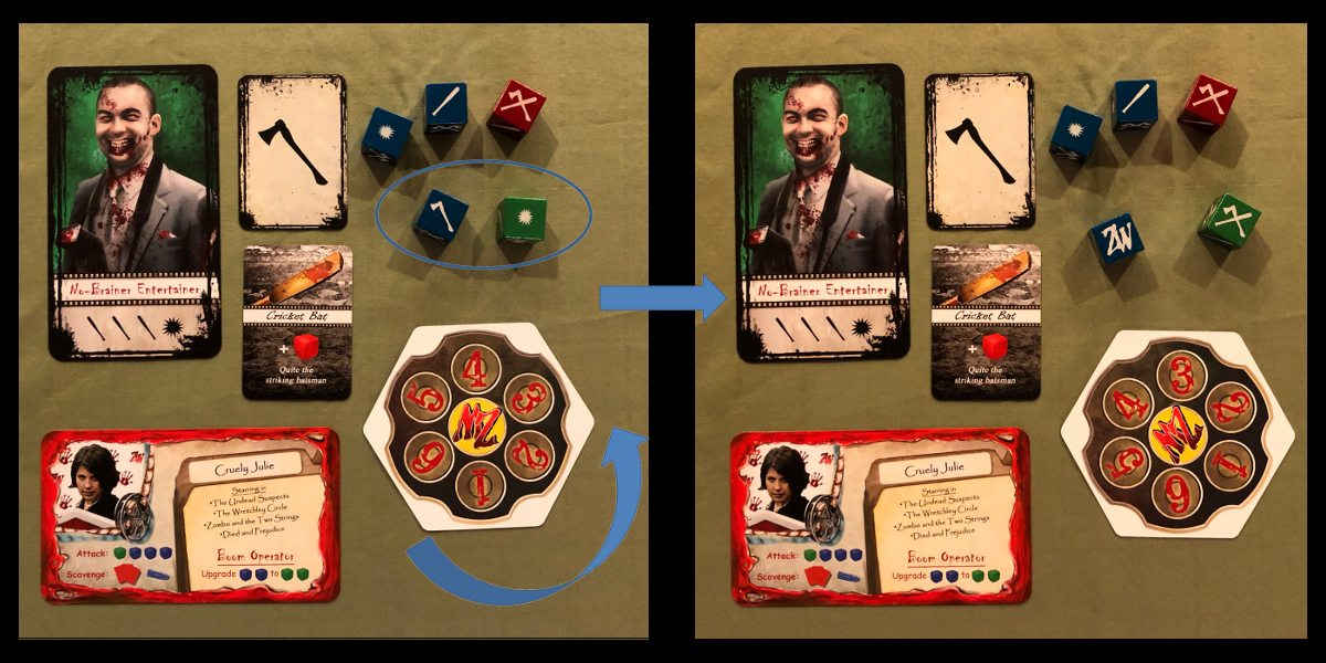Two scenes from combat in Adventures in Zombiewood, showing dice symbols that match those on a zombie card. The second scene shows that the six-shooter has been rotated, and two of the five dice are showing new symbols.