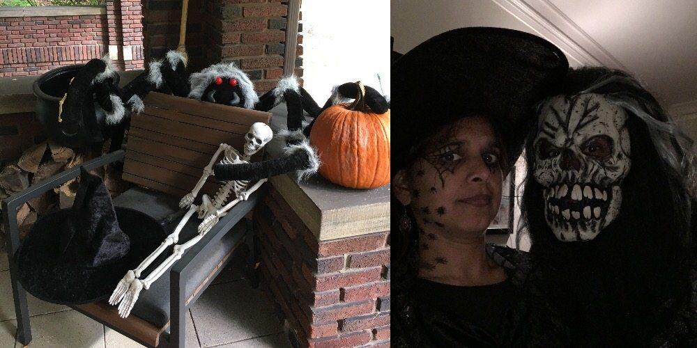 Halloween spirit in decoration and costume.
