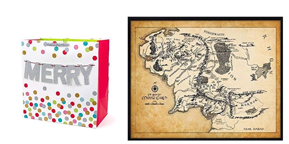 Geek Daily Deals Nov. 30, 2017: Save on Holiday Wrapping Paper, Bags, and Boxes; Gorgeous Map of Middle Earth