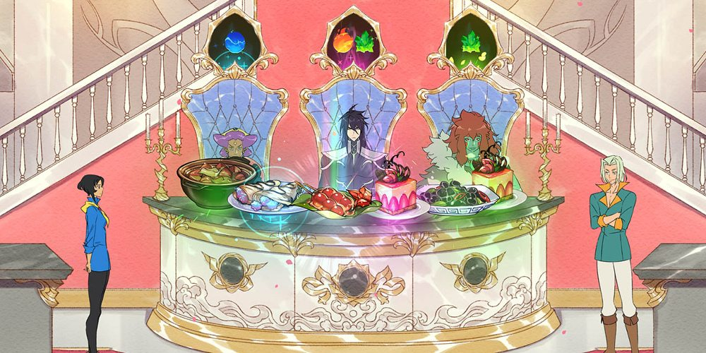 Judges sit behind six food dishes. Icons above their head shows what they like in a meal. Mina and another character stand to the sides of the table.