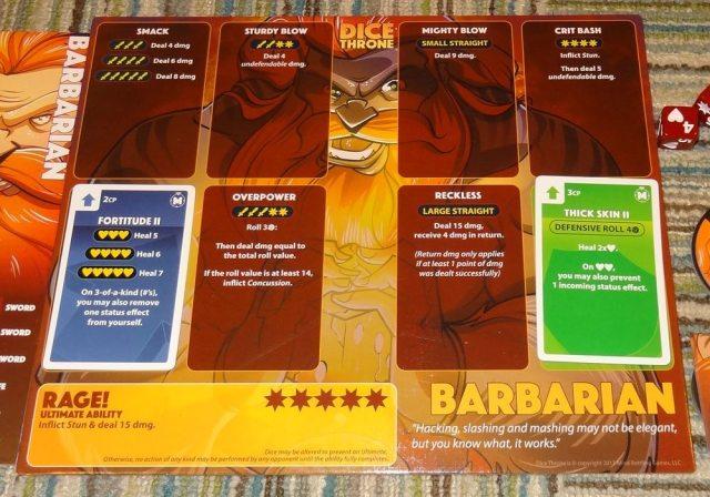 Dice Throne Barbarian board