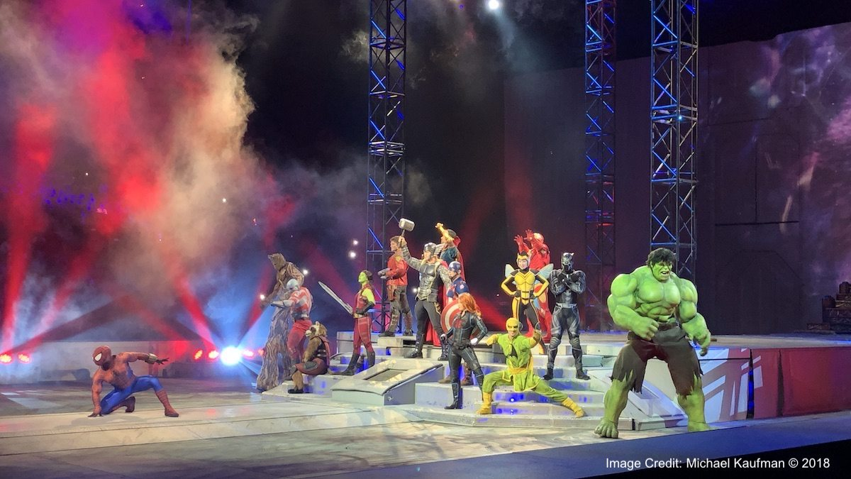 "The heroes of ""Marvel Universe LIVE!"" strike a pose."