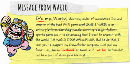 "Nintendo's Wario Launches ""Crowdfarter"" Campaign"