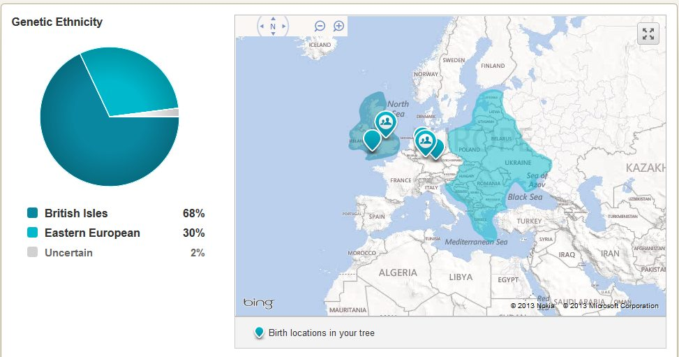 Original AncestryDNA results, shows the location of where some of my ancestors lived.