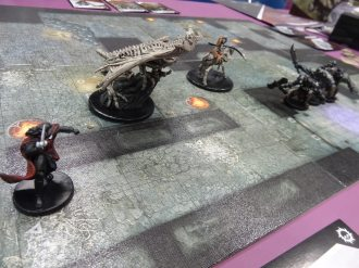 I got a chance to play Dungeon Command with Dave Banks. Despite my awesome Dracolich, I lost.