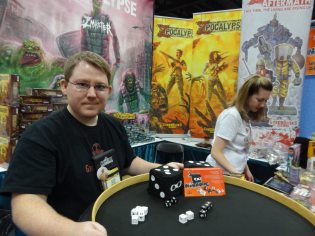 Jeff Gracia of Greenbrier Games (home of Zpocalypse) demos a prototype of the upcoming Ninja Dice.