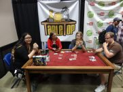 The Doubleclicks commandeer the TableTop booth for a game of SmashUp.