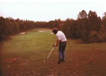 Ian teeing off at Highlands Links in 1981.