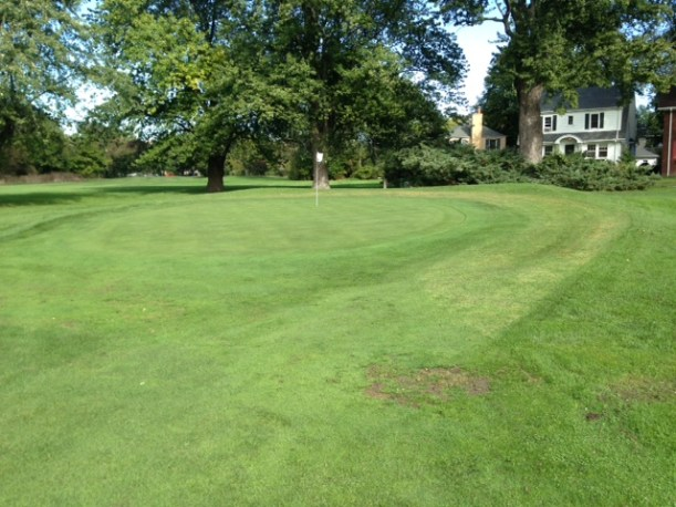 New mowing pattern on hole #17. The lighter grass illustrates the additional green area to be reclaimed.