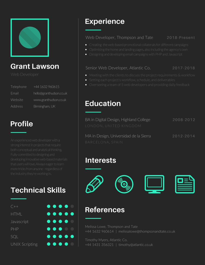 My Cv Resume 16 Free Tools To Create Outstanding Visual Resume