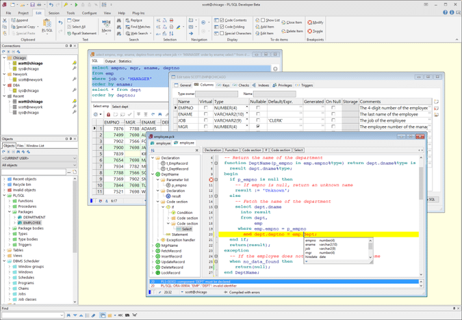pl sql developer er diagram golf 3 gti wiring 11 client for productive database administration development has profiler integrated which will be useful to optimize the code performance and get statistics about cpu usage block i o