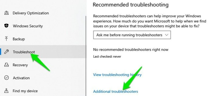 Troubleshoot section