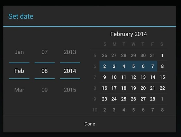 Android DatePockerDialog sample