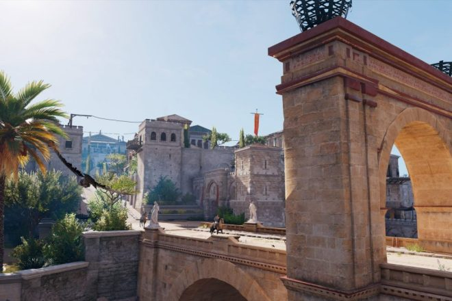 "Grüße aus Alexandria! - In ""Assassin's Creed: Origins"" mutiere ich Dank Fotomodus zur Klischee-Touristin (Quelle: Assassin Creed: Origins, Ubisoft)"