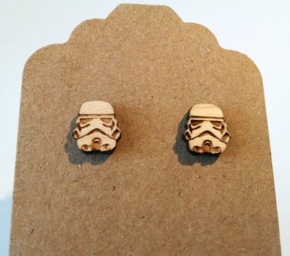 Star Wars StormTrooper on Maple Wood Laser Engraved and Cut Titanium Post Earring Pair Storm Trooper