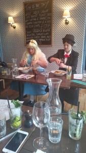 Alice & Mary Poppins enjoying their pasta.