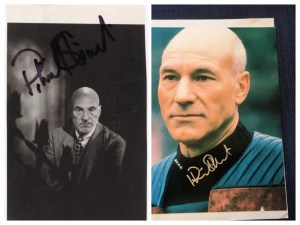Not one but two signed pictures of Patrick Stewart brooding.