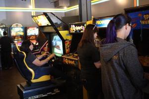 GGB ladies enjoying the free play arcade games.