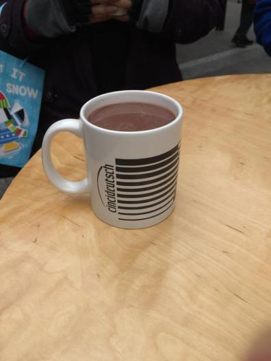 Kari's hot chocolate in her Cincideustch mug.