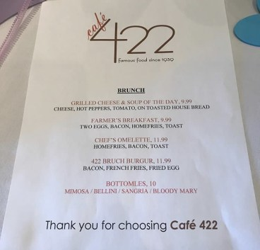 Our menu at Cafe 422