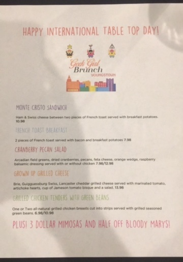Menu for Our First Brunch