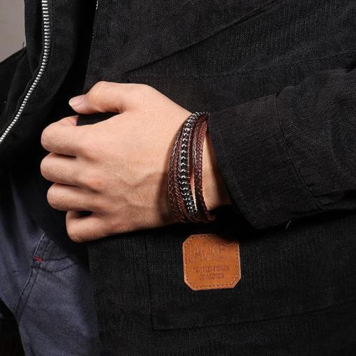 Men's brown leather bracelet bohemian style fashion bracelet for boyfriend gentlemen gift for geeks