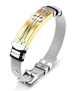Mens stainless steel bracelet silver