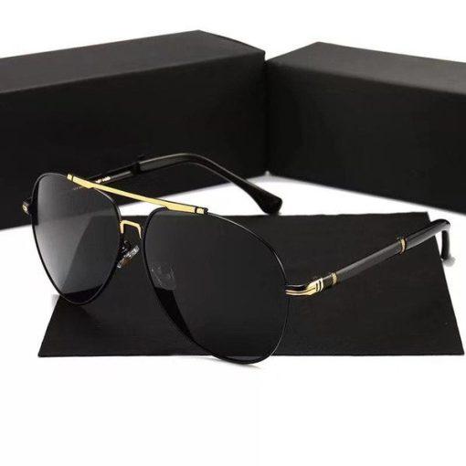Black Round Aviator Titanium Sunglasses Womens