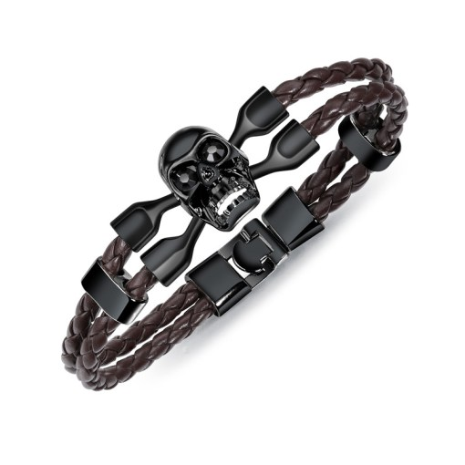 Mens Leather Braided Bracelet With Magnetic Clasp