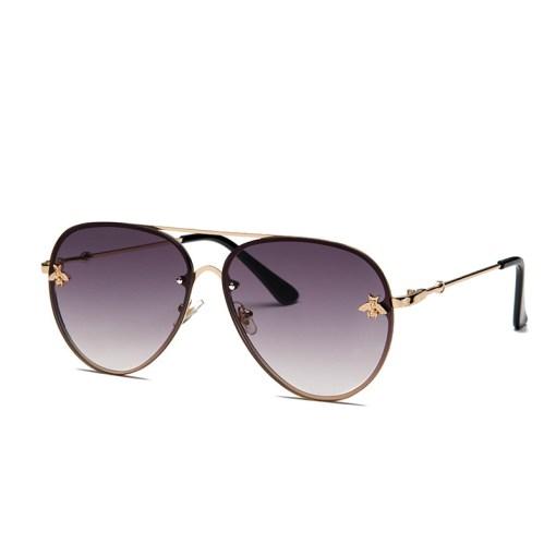 Grey Designer Large Aviators Round Sunglasses With Gold Frame Womens