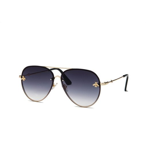 Black Large Aviators Round Sunglasses With Gold Frame Womens