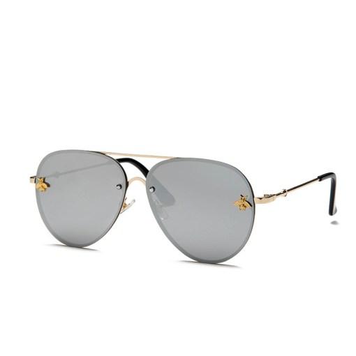 Silver Designer Aviators Round Sunglasses With Gold Frame Womens