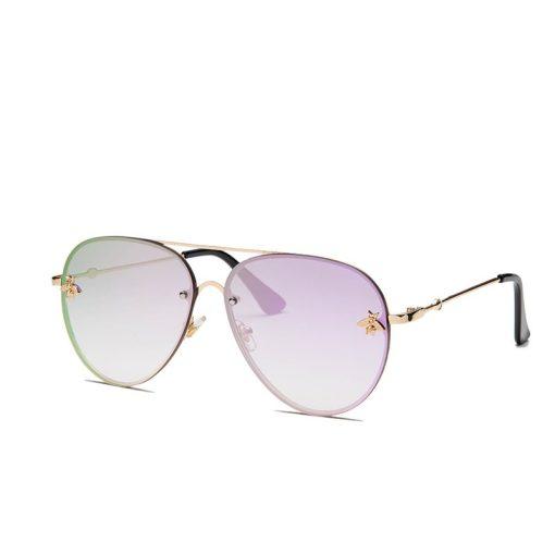 Purple Designer Large Aviators Round Sunglasses With Gold Frame Womens