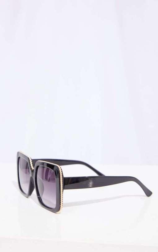 black and gold large aviators square sunglasses womens