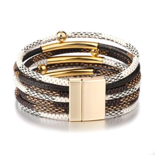 Womens Leather Boho Magnetic Wrap Bracelet