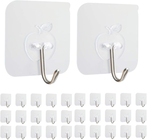 30 Packs Clear Adhesive Wall Hooks Decorative Wall Shelf With Hooks
