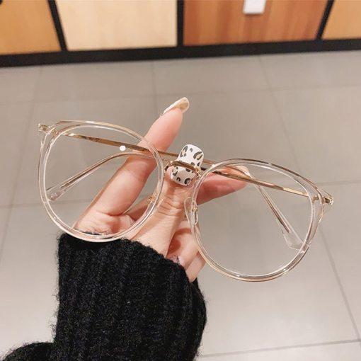 SO&EI Fashion Round Women Glasses Frame Vintage Clear Lens Eyewear Men Optical Leopard Green Eyeglasses Frame