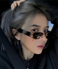 SO&EI Ins Popular Fashion Small Rectangle Women Luxury Sunglasses Brand Designer Vintage Punk Men Sun Glasses Shades UV400