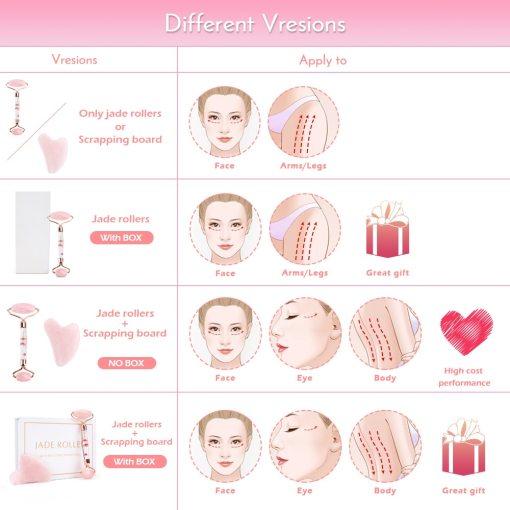 Natural Jade Roller & Guasha Kit Beauty Massager for Face Double Heads Massage Roller Facial Lifting Body Slimming Massager