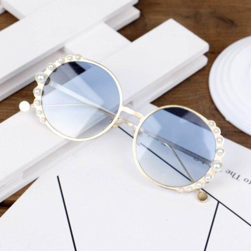 Kids Round Metal Children Pearl Sunglasses Girl Boy Cute Eyewear Fashion Sun Glasses Shade UV400