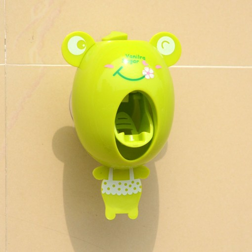 Cartoon Toothpaste Dispenser Strong Suction Sucker Bathroom Accessories Set Toothbrush Holder Automatic Tooth Brush Holder Child