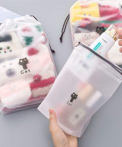 Cat Waterproof Cosmetic Box Women Travel Makeup Case Zipper Makeup Bath Organizer Storage Pouch Toiletry Wash Beauty Kit
