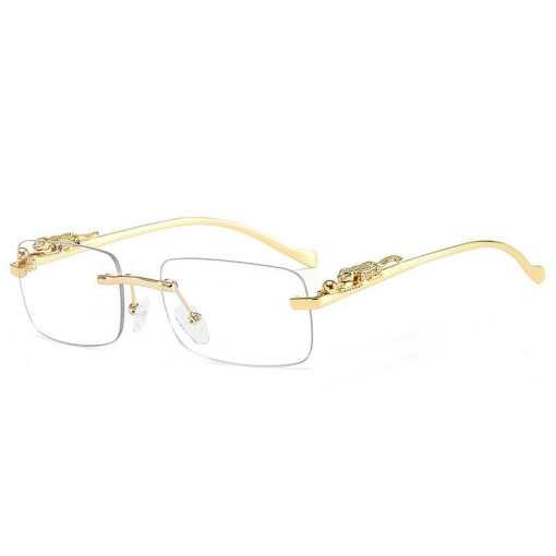 SO&EI Fashion Rimless Rectangle Sunglasses Women Retro Cheetah Decoration Clear Ocean Lens Eyewear Men Sun Glasses Shades UV400