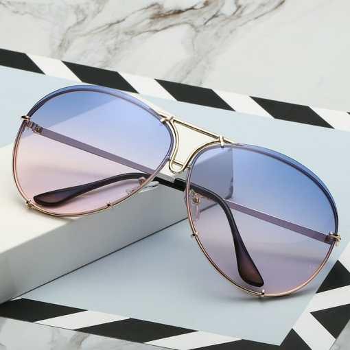 2020 New Fashion Pilot Sunglasses Women Oversized Luxury Sun Glasses For Female Cool Mirror Vintage Lady Gradient Shades UV400
