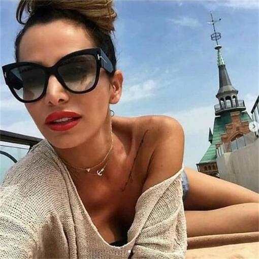 New Fashion Cat Eye Sunglasses Women Brand Designer Oversized Frame Vintage Gradient Sun Glasses oculos de sol UV400