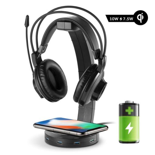 befon RGB Headphones Stand with 4 USB Ports, Support Wireless Charging,Headphone Holder for Gamers Gaming PC Accessories Desk