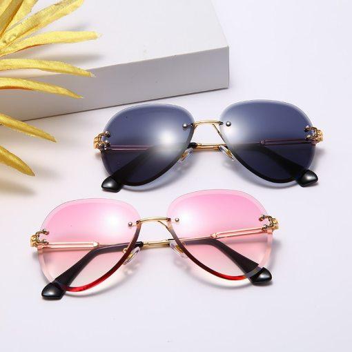Fashion Rimless Sunglasses Women Metal Sun glasses Luxury Lady Shades UV400 Eyewear Oculos Lunette De Soleil Femme