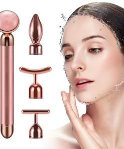 4 in 1 Vibrating Rose Quartz Roller Face Roller Eye Massager Jade Roller T/V Shaped Face Lifting Slimming Beauty Bar Massager